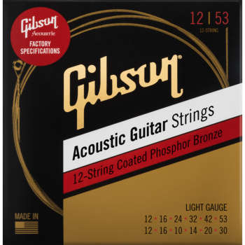 Gibson Phosphor Bronze Acoustic Guitar Strings 12-String Light Cuerdas Guitarra Acústica de 12 cuerdas