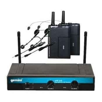 GEMINI UHF-216HL Micrófono inalámbrico Doble Lavalier Head con pll