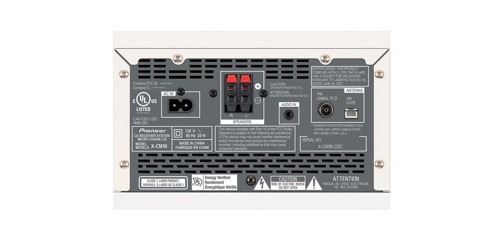 pioneer X CM56 W minicadena conexiones