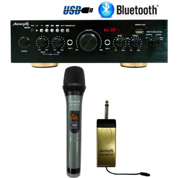 Amplificador Karaoke Bluetooth Audibax Miami 100W + 100W  + Micrófono Audibax inalambrico Free Hand UHF