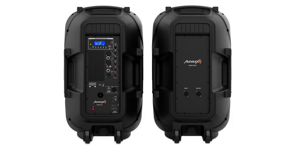 audibax party215 altavoces amplificados 15 pulgadas back pannel