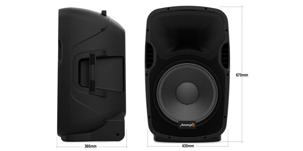 audibax party215 altavoces amplificados 15 pulgadas medidas