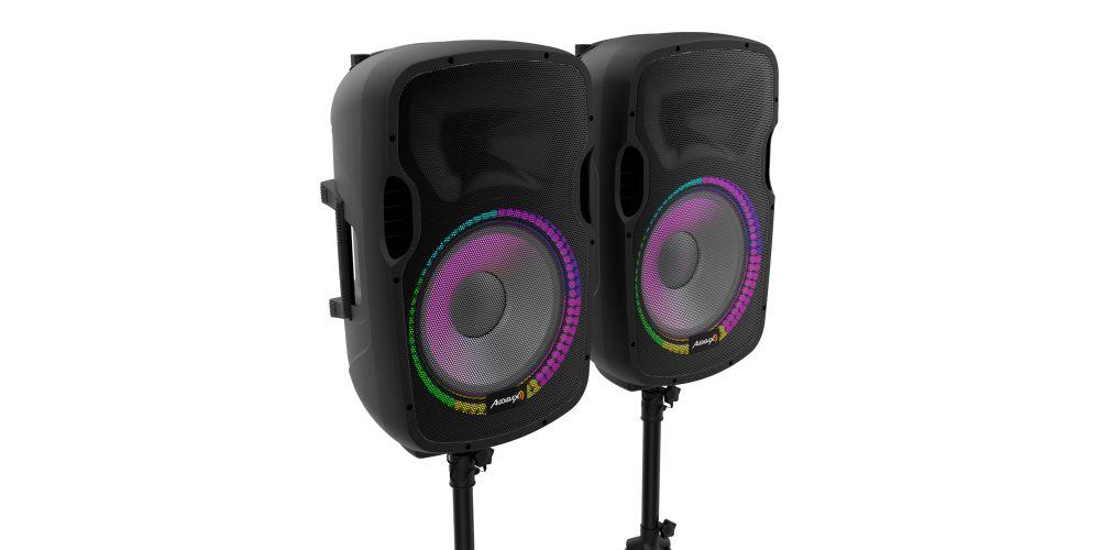 audibax party215 altavoces amplificados soporte