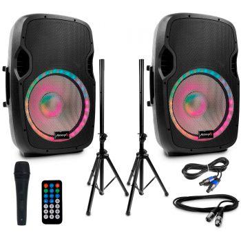 Audibax Party 215 Led Set 2 Altavoces 15 + Soportes + Cables + Micrófono ( REACONDICIONADO )