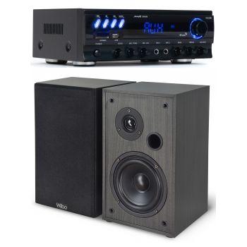 Equipo HiFi Multimedia Karaoke Audibax ZERO 500 + Altavoces HiFi Estantería Wiibo String 15