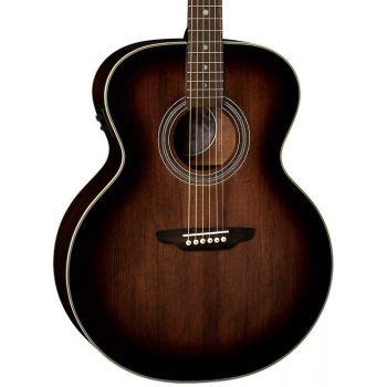Luna Guitars Art Vintage Jumbo Solid Top A/E Distressed Vintage Brownburst. Guitarra Electroacústica