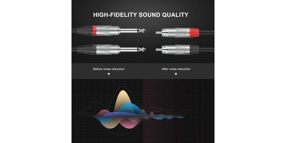 cable pro 2 x jack a 2 x rca 10 metro negro audibax mh