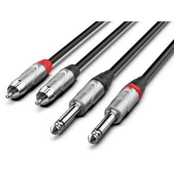 Audibax Pro Cable 2 Jack Mono a 2 RCA 10 Metros Negro