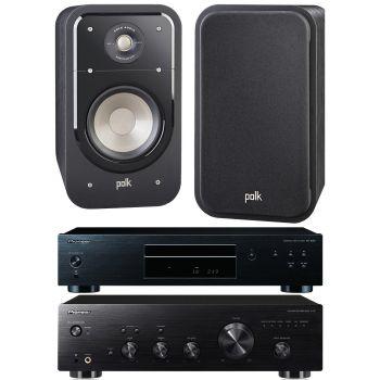 Pioneer A-20 K + PD10K+ Polk Audio S20 BK Conjunto Sonido