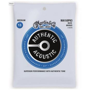 Martin MA150PK3 Cuerdas Guitarra Acústica Pack 3 Authentic Sp Bronze 80/20 Medium 13-56