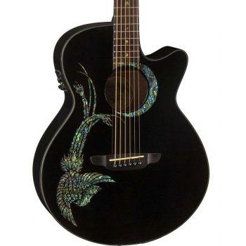 Luna Guitars Fauna Phoenix Classic Black. Guitarra Electroacústica