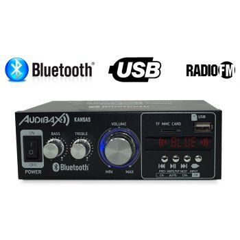 Audibax Kansas Amplificador HiFi con Bluetooth / MP3 / FM. Entrada SD y USB. 2 x 40W