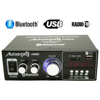 Audibax KANSAS Amplificador HiFi con Bluetooth / MP3 / FM 2 x 40W