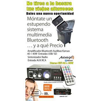 Audibax KANSAS Amplificador HiFi con Bluetooth / MP3 / FM 2 x 40W