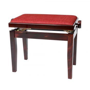GEWA 130060 Banqueta de Piano Deluxe Caoba brillo Tapizado burdeos