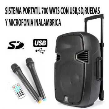 "SKYTEC SPJ-PA915 170.080 Altavoz Movil Activo 15"" con 2 Micrófonos"