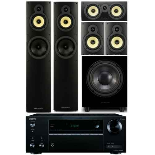 onkyo txnr555 bk wharfedale system 4 conjunto home cinema subwoofer WHD8