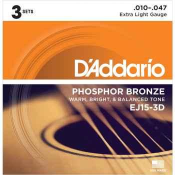 D´addario EJ15 - Phosphor Bronze Extra Light (pack 3 juegos) cuerdas Guitarra Acústica