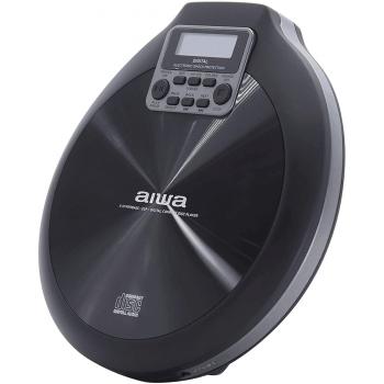 AIWA PCD-810BK CD Portátil Discman. Baterías Recargables. Funda y Auriculares Botón incluidos
