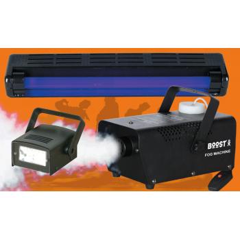 Boost FOG-FEAR2. Kit de iluminación con Maquina de Humo, Strobo y Luz Negra de 46 Cm