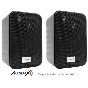 Audibax PR-42 Altavoces Estantería HiFi y Sonorización Negros con Soportes de Pared