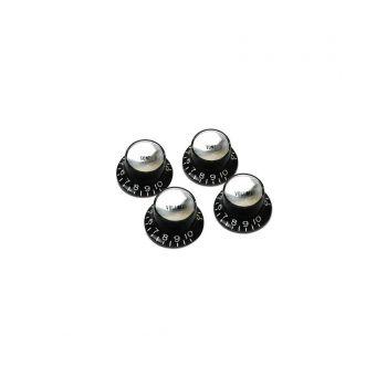 Gibson Top Hat Knobs Black-Silver Set 4 Unidades Repuesto Guitarra Eléctrica