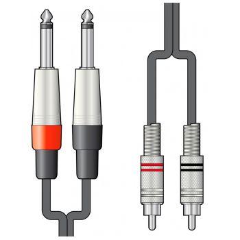 Chord Cable 2 RCA Macho - 2 Jack 6.3mm Mono 1.5 metros