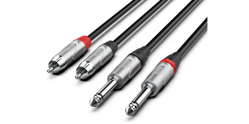 cable pro 2 x jack a 2 x rca 6 metro negro audibax
