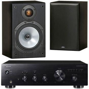 Pioneer A-10K+Monitor Audio MR1 Black Conjunto Audio