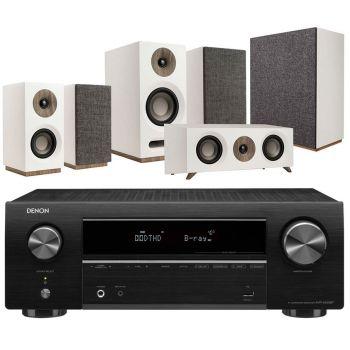 DENON AVR-X550+Jamo S803HCS+S808SUB White Conjunto Home Cinema
