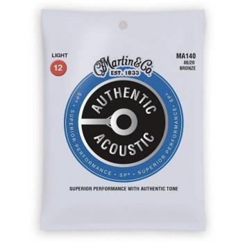 Martin MA140 Juego Cuerdas Acústica Authentic Sp Bronze 80/20 Light 12-54