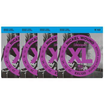 D Addario EXL120 Juego Cuerdas de Guitarra Eléctrica Pack 4 Unidades