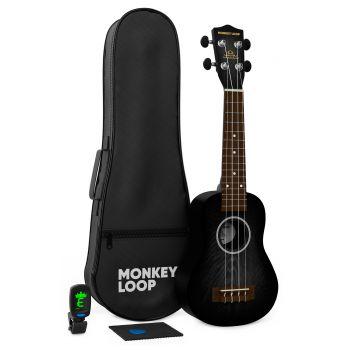 Monkey Loop Jungle Pack Black Ukelele Soprano ( Ukelele, Funda, Afinador, Púa y Gamuza Limpiadora )
