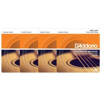 D Addario EJ15 Juego Cuerdas de Guitarra Acústica Pack 4 Unidades