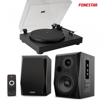 Equipo HiFi Giradiscos Fonestar VINYL 13 + Altavoces Estantería Bluetooth Audibax Beta 2BT