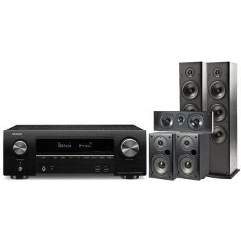 Denon Equipo AV 1500/T531 AVR-X1500 + Polk T50 + T30 + T15 Altavoces Home Cinema.