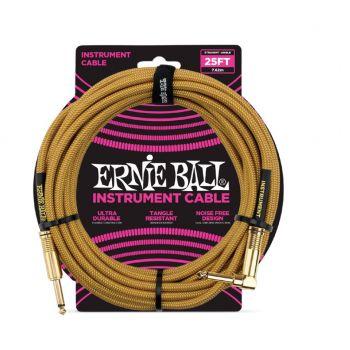 Ernie Ball 6070 Cable Instrumento Trenzado JACK-JACK 7,62 Metros Dorado