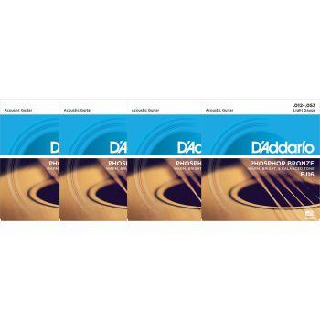 D Addario EJ16 Juego Cuerdas de Guitarra Acústica Pack 4 Unidades