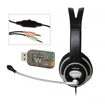 Fonestar FMC-678V (USB) Auriculares Teletrabajo Pc + Adaptador de Mini Jacks a USB
