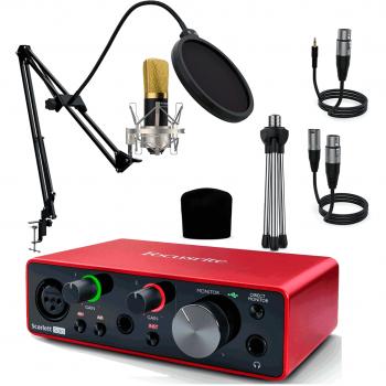 Interface Audio Scarlett Solo 3ª Gen + Berlín Micrófono Estudio Gold Pro Pack