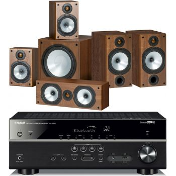 Yamaha RXV485+ MONITOR AUDIO MR2+MR1+MR C+MRW10,POWER 2 Walnut