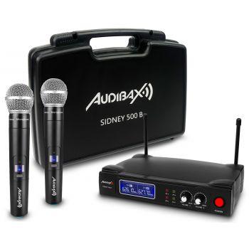 Audibax Sidney 500 A Micrófono Inalámbrico Profesional UHF Doble Mano + Maleta