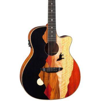 Luna Guitars Vista Wolf Tropical Wood A/E W/Case Guitarra Electroacústica