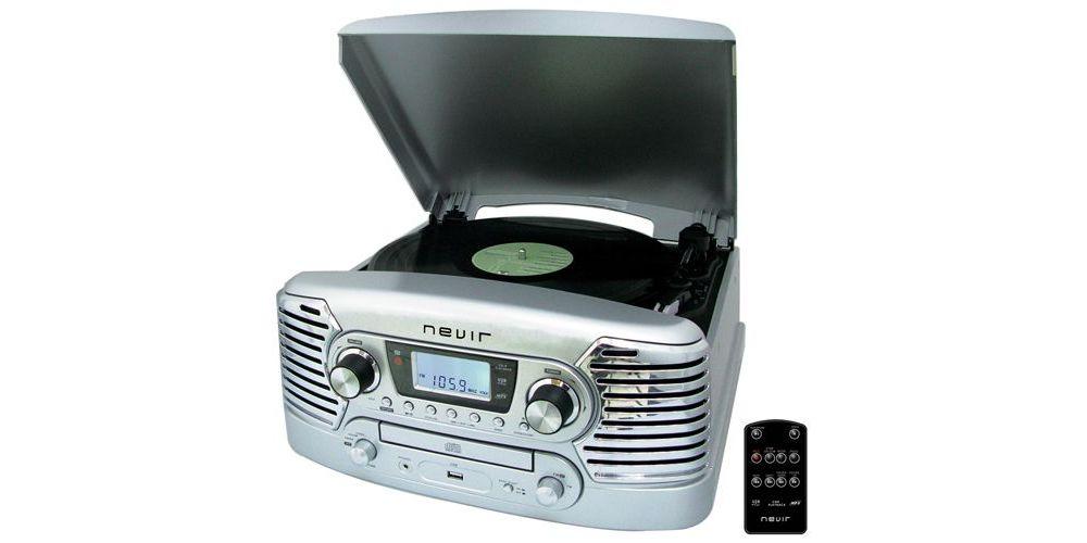 NEVIR NVR-801 SILVER Tocadiscos Retro (Vinilo a MP3)