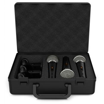 Audibax Tokyo XM1800 Pack Maleta con 3 Micrófonos Dinámicos + Maleta + Pinzas