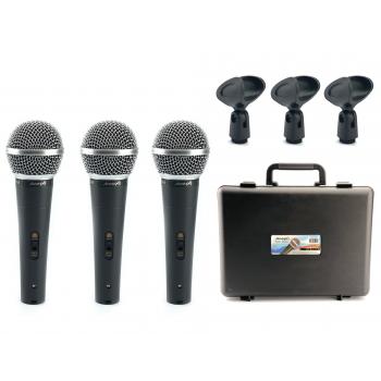 Audibax Tokyo XM1800 Pack 3 Micrófonos Dinámicos + Maleta + Pinzas