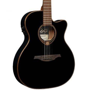 LAG T118ASCE-BLK Guitarra Electro Acústica Tipo Auditorium Slim con Cutaway Serie Tramontane Color Negro