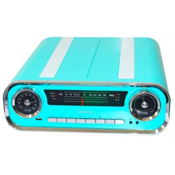 Lauson 01TT18 Tocadiscos Vintage Azul Bluetooth Encoding FM USB