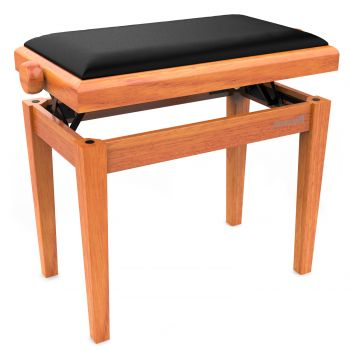 Audibax KB600 Oak Banco para Piano Teclado Ajustable Regulable. Acolchado. Roble