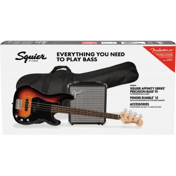 Fender Squier Affinity Precision Bass PJ LRL 3-Color Sunburst Pack